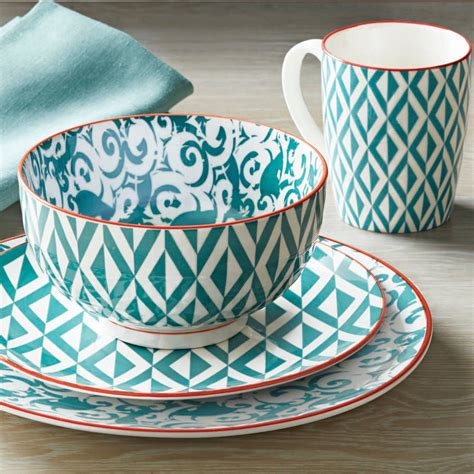better homes and gardens dinnerware better homes and gardens piers teal mix and match 16 piece mix and match dinnerware