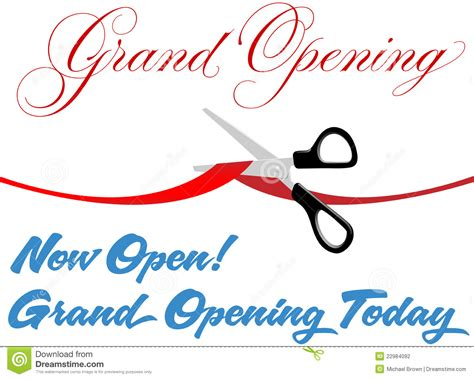 Scissors Cut Grand Opening Today Ribbon Stock Vector