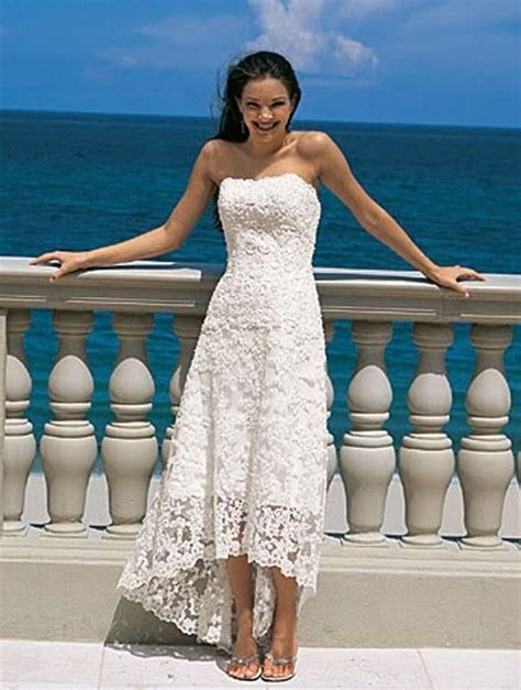 Strapless High Low Vintage Tea Length Wedding Dress Lace