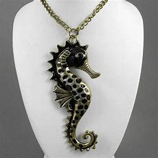 "Big Seahorse Charm Pendant Necklace 27""long Chain Black"