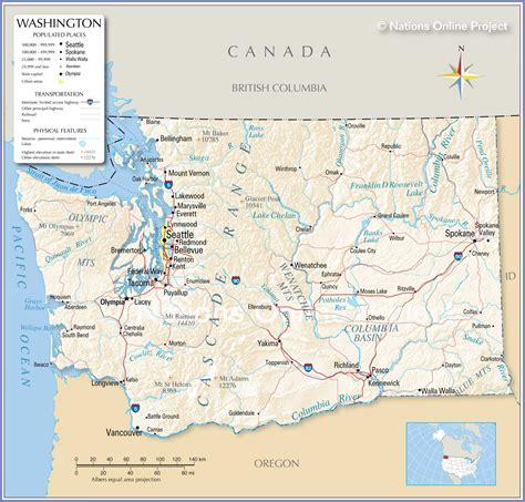 map  washington state usa nations  project