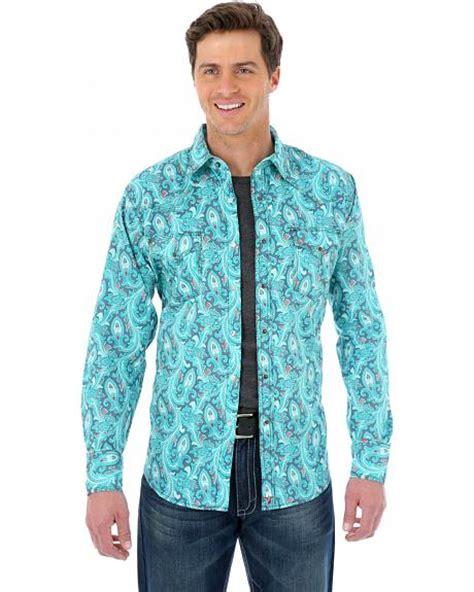 wrangler  turquoise paisley western shirt sheplers