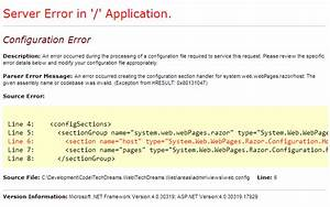 Configuration error while using Areas in ASP.NET MVC 4