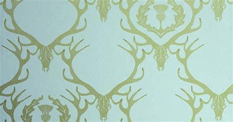 deer damask wallpaper aqua wallpaper  gold stag head