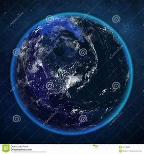 Planet Earth Night View From Space. Stock Illustration ...