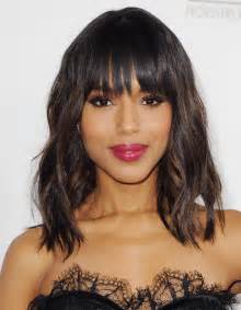 Frisuren Schulterlanges Haar Gestuft Mit Pony by Kerry Washington The Hair And Makeup From The Producers Guild Awards