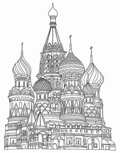 Coloring Pages Adult Cathedral Basil Saint Illustration