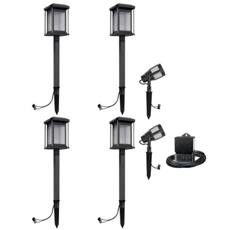 new malibu 6 pc low voltage led square caged landscape
