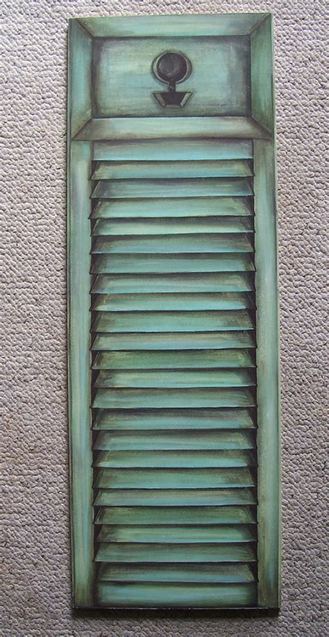 green shutter trompe l oeil wall plaque cottage chic