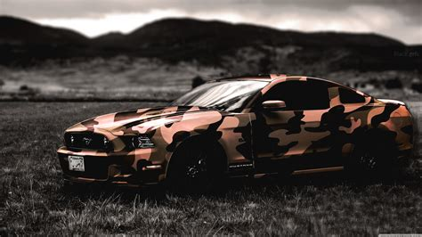 Ford, Ford Mustang, Army, Camouflage, Car Wallpapers Hd