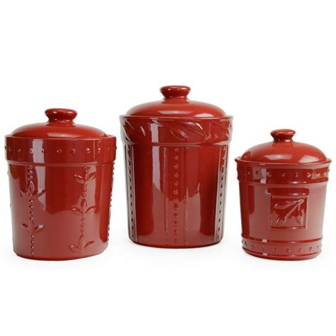 ceramic canisters for kitchen signature housewares 3 sorrento ruby ceramic