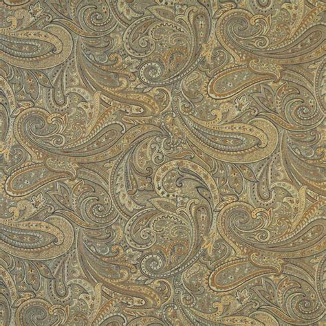 Blue Paisley Upholstery Fabric by F324 Gold Bronze Blue Paisley Abstract Jacquard Upholstery