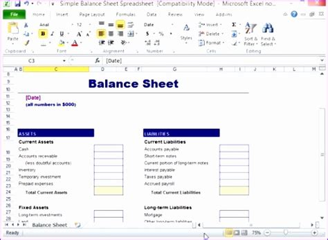 8 balance sheet template excel free
