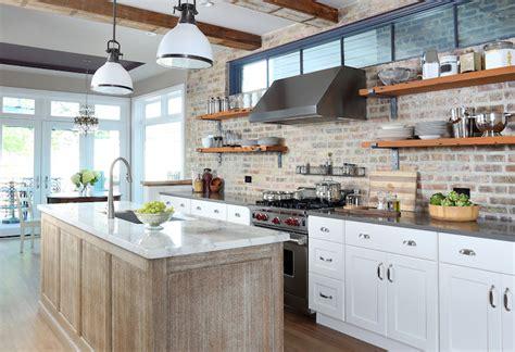 white kitchen cabinets with brick backsplash cambria quartz countertops design ideas 2066