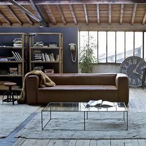 Deco industrielle avec canape cuir marron salon ampm for Canape cuir ampm