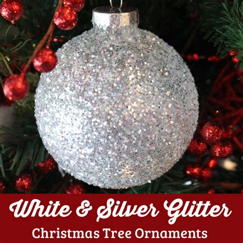 white silver glitter christmas tree ornaments  sisters