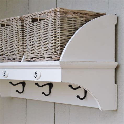 shelf with baskets and hooks 3 hook shelf and 3 baskets bliss and bloom ltd