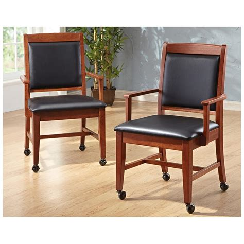 Traditional Wooden Leather Kitchen Chairs With Wheels And