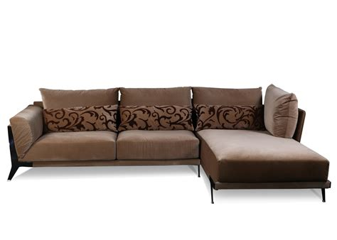 Modern Sectional Sofa In Rich Brown Fabric