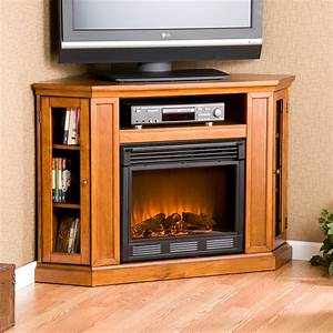Corner Light Brown Wooden Fireplace With Shelf Above Also