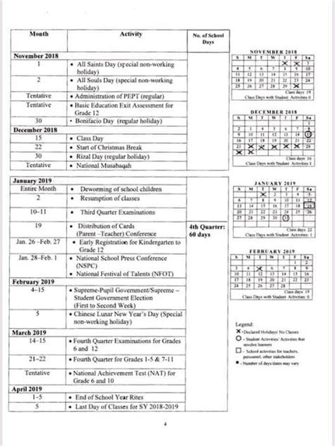 official deped school calendar school year deped lps
