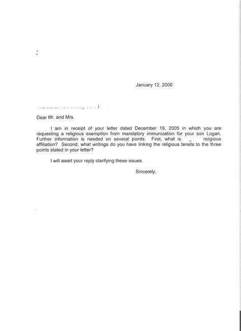 religious exemption letter template examples letter