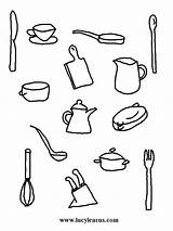 Coloring Chef Cooking Kitchen Utensils Pages Sheets Activity Tools Printable Line Chefs sketch template
