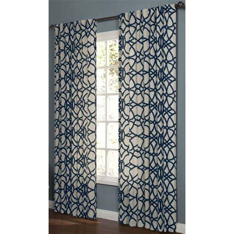 allen roth oberlin curtains shop allen roth oberlin 63 in navy cotton back tab light