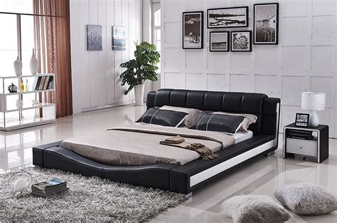affordable modern bedroom furniture impress one and all using affordable modern furniture 13994 | Container Furniture Direct Liam Collection Contemporary 2 Tone Faux Leather Upholstered Platform Bed with Padded Headboard BlackWhite