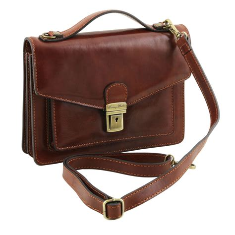 Leather Crossbody Bag by Eric Leather Crossbody Bag Brown Tl141443