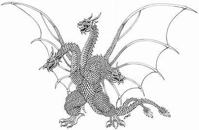 Godzilla Ghidorah Coloring King Drawing Kong Vs