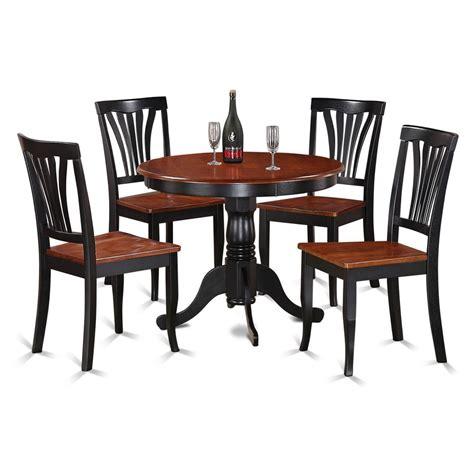 5piece Round Black And Cherry Kitchen Table Set  Ebay