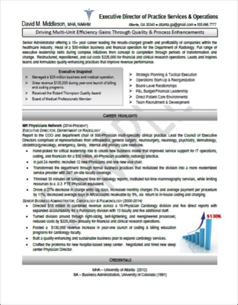 healthcare executive resume templates executive resume sles professional resume sles resumes by joyce