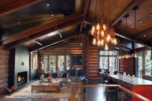 attractive log cabin colorado living lighting kitchen