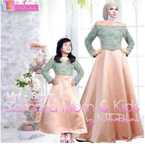 baju gamis ibu  anak  hijab nemo