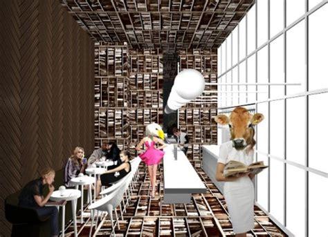 floor  wall books dizzying sideways cafe design  nyc