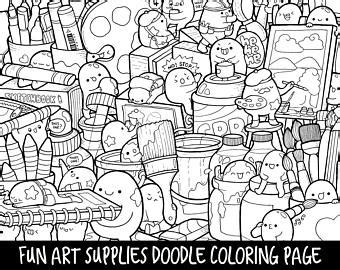 kitchen supplies doodle coloring page printable cutekawaii