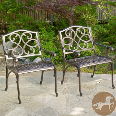 christopher home mckinley cast aluminum bronze outdoor chairs set of 2 by christopher