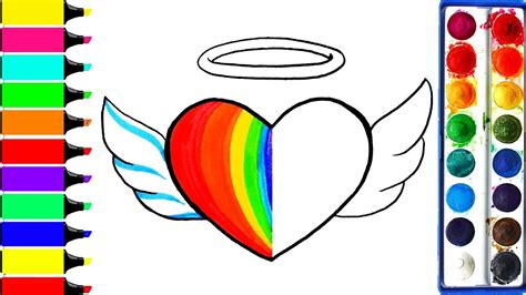 angel rainbow heart coloring page learn colors  girls