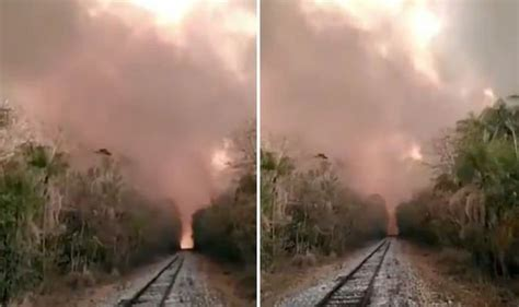 amazon rainforest fire terrifying footage shows huge