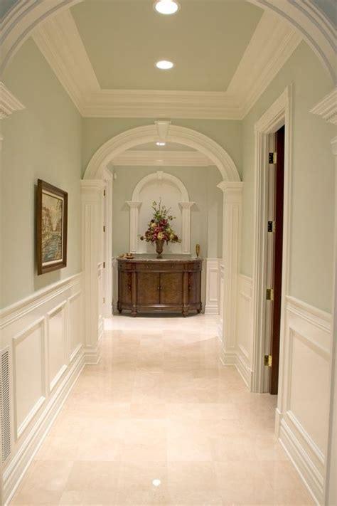 traditional hallway  sandstone tile floors american
