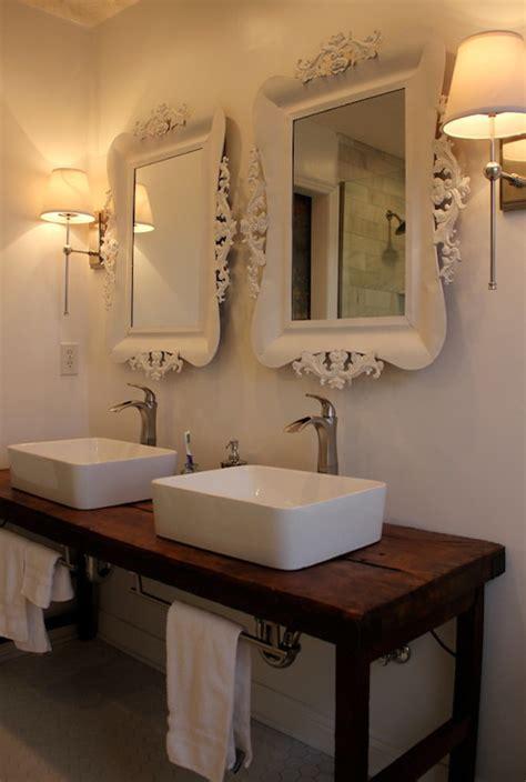 reclaimed wood washstand eclectic bathroom