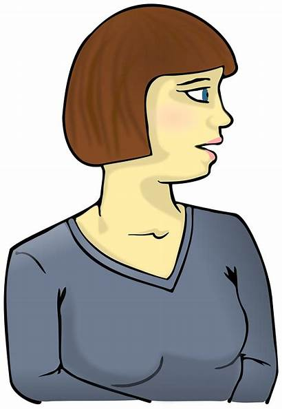 Sideways Looking Clipart Woman Cartoon Person Cliparts