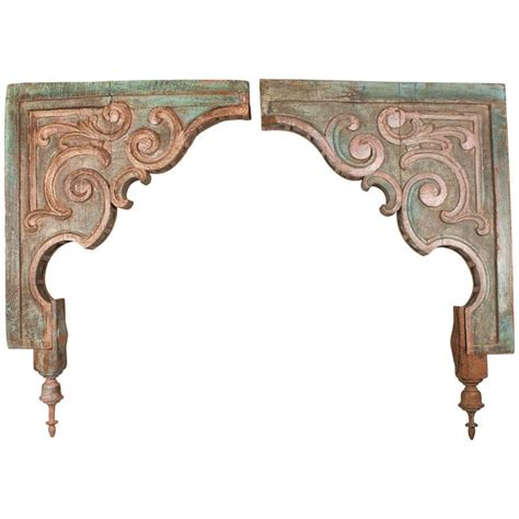 Corbels For Sale by Pair Of Painted Teak Wood Corbels For Sale At 1stdibs