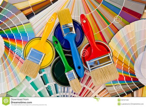 Paint Cans And Brushes On Color Stripes Of Sample. Stock