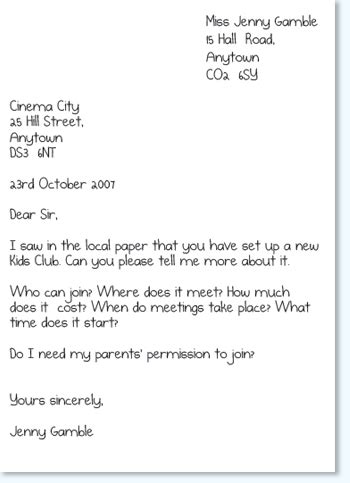 formal letter writing topics  grade  formal letter