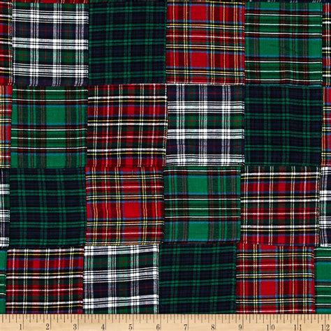 tartan plaid patchwork black discount designer fabric fabric