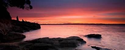 Dual Screen Background Nature Sunset Monitor Beach