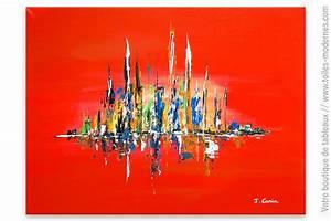 Tableau Moderne Coloré : tableau rouge moderne paysage color ~ Teatrodelosmanantiales.com Idées de Décoration