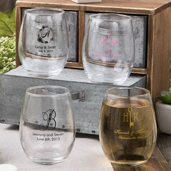 personalized stemless wine glass wedding favors  ounce custom designs